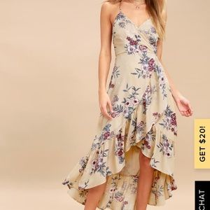 GILD THE LILY BEIGE FLORAL HIGH-LOW MAXI DRESS